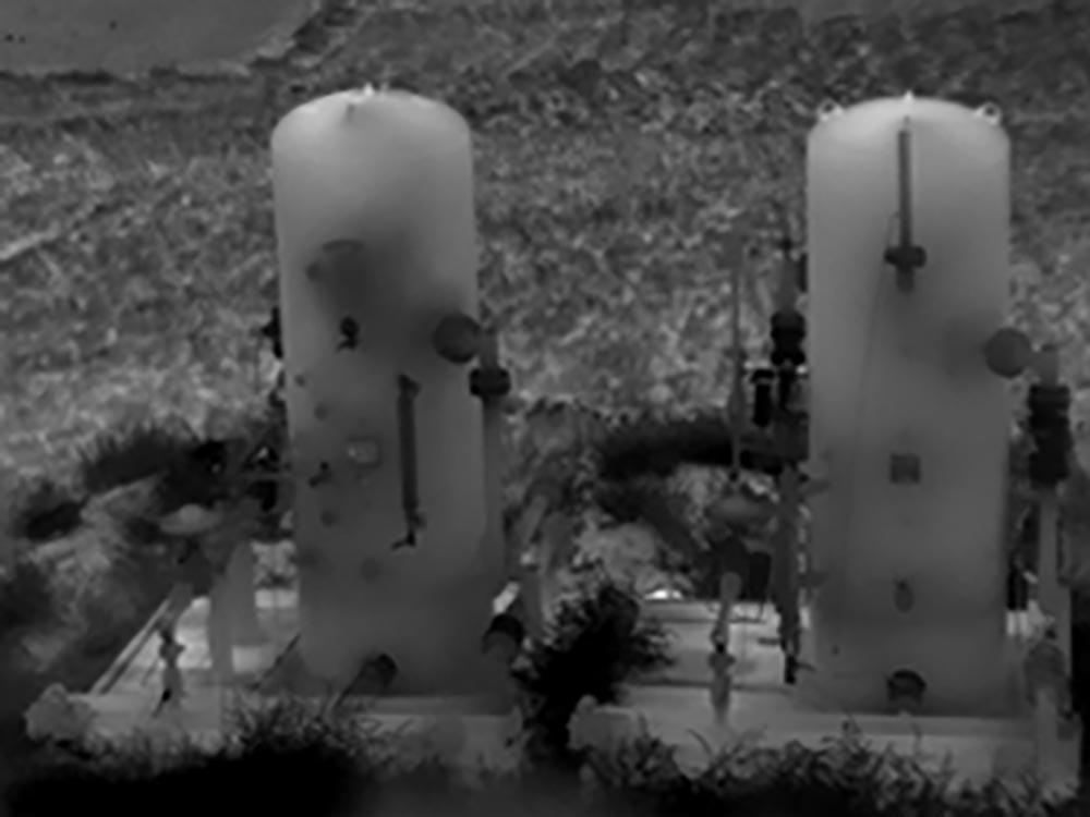 Wyciek gazu - termogram z kamery termowizyjnej GF77